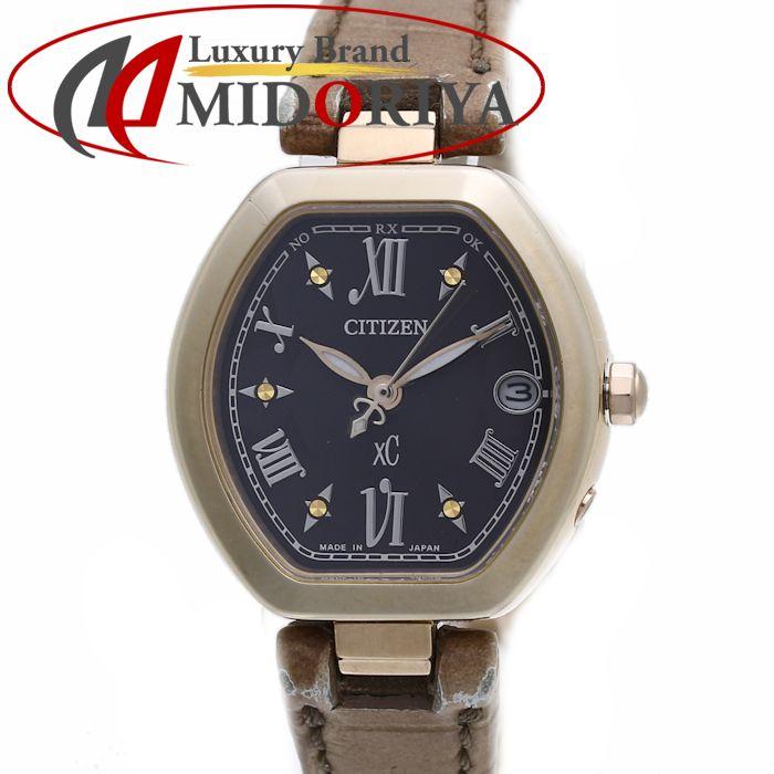 シチズン CITIZEN クロスシー エコドライブ 電波時計 レディース ES8052-04W /36511 【中古】 腕時計