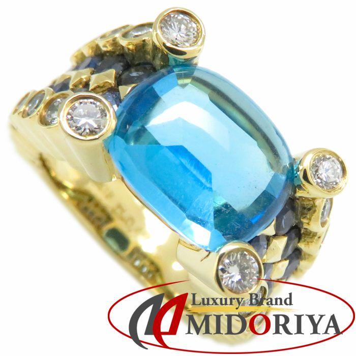 ポンテヴェキオ Ponte Vecchio リング ブルートパーズ サファイヤ ダイヤモンド K18YG イエローゴールド 8.5号 指輪/092418【中古】