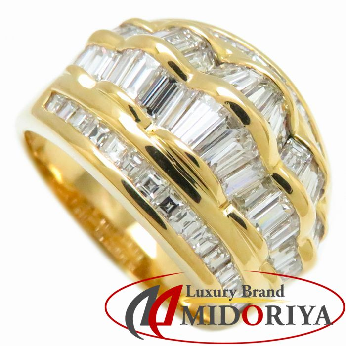 ダイヤモンドリング K18YG ダイヤモンド2.94ct 16.5号 18金イエローゴールド 指輪 レディース ジュエリー /63565 【中古】P_10