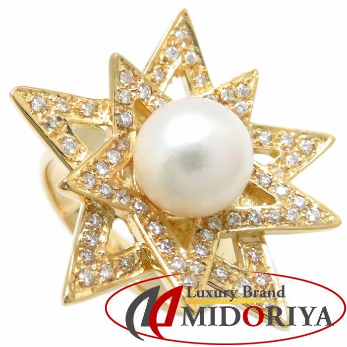 リング K18YG パール8.8ミリ ダイヤモンド0.45ct 15号 18金イエローゴールド 指輪 レディース ジュエリー /63637 【中古】P_10