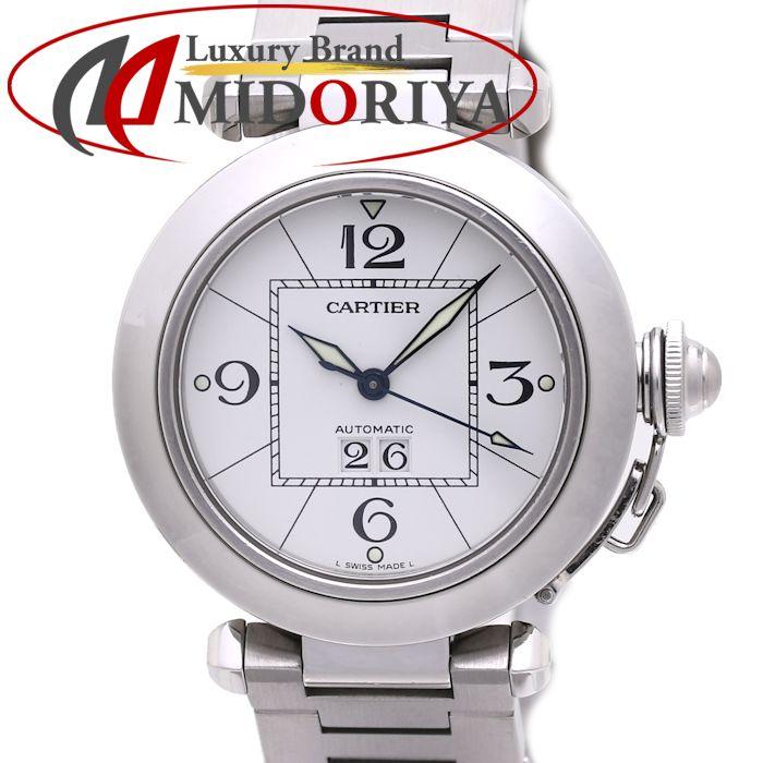 カルティエ CARTIER パシャC ビッグデイト ホワイト SS 35mm W31044M7 ボーイズ ユニセックス /36698 【中古】 腕時計