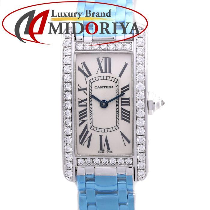 \大幅値下げ/カルティエ Cartier タンクアメリカン SM ベゼルダイヤ 18Kホワイトゴールド WG WB7073L1 レディース /36724 【中古】【外装磨き仕上げ済み】 腕時計