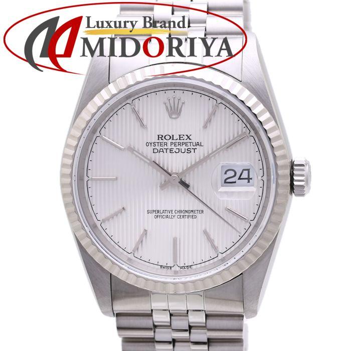 ロレックス ROLEX デイトジャスト 16234 シルバータペストリー L番 自動巻き メンズ /36871 【中古】 腕時計
