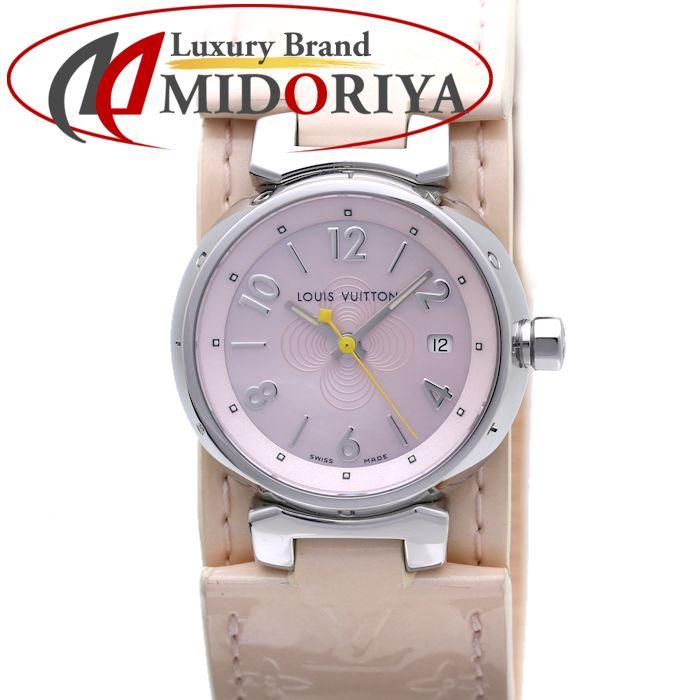 ルイヴィトン LOUIS VUITTON タンブールPM レディース Q12160 パテントレザー ピンクシェル /36889 【中古】 腕時計