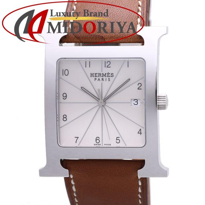 エルメス HERMES Hウォッチ HH1.810.260/VBA 茶革ベルト クオーツ メンズ /36942 【中古】 腕時計