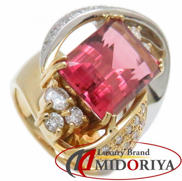 リング K18YG/Pt900 ピンクトルマリン6.96ct ダイヤモンド0.66ct 12号 18金 イエローゴールド プラチナ 指輪 レディース ジュエリー /63668 【中古】