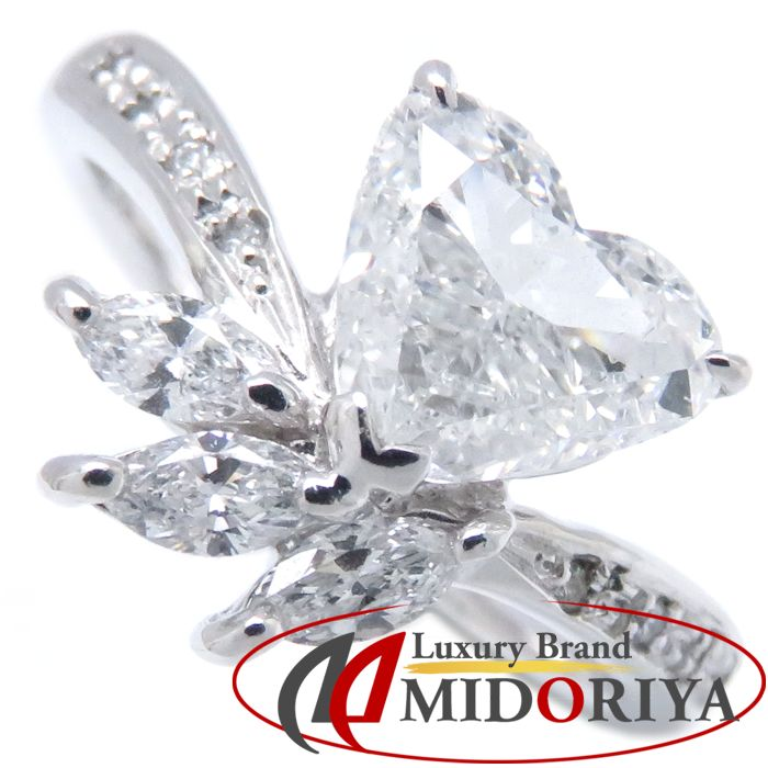 ダイヤモンドハートリング Pt900 ダイヤモンド1.004ct/0.28ct 12.5号 プラチナ 指輪 レディース ジュエリー /63673 【中古】