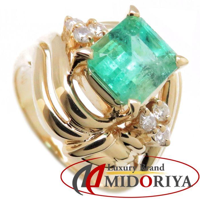 リング K18YG エメラルド1.80ct ダイヤモンド0.15ct 12号 18金イエローゴールド 指輪 レディース ジュエリー /63764 【中古】