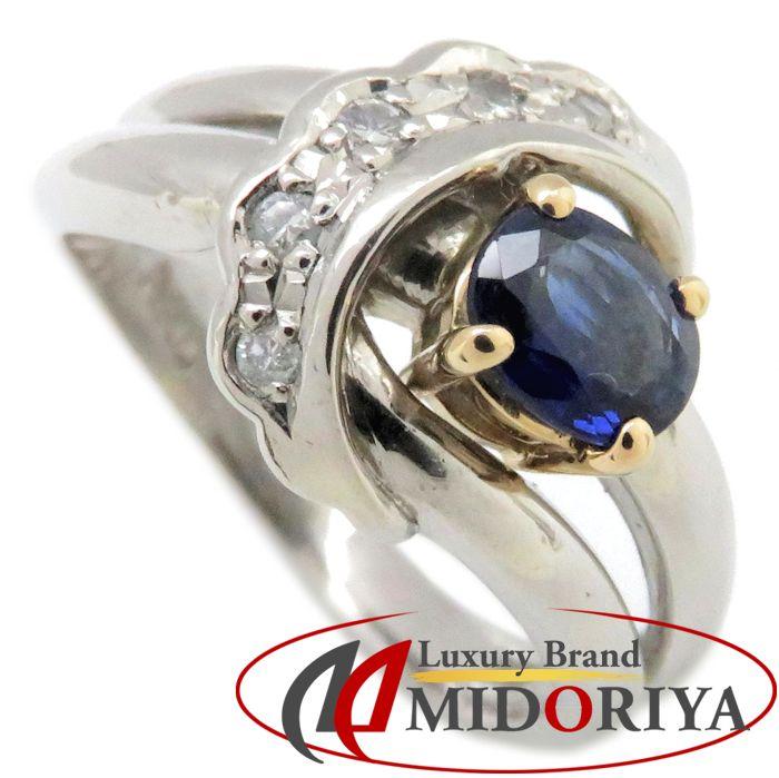 リング Pt900/K18YG サファイヤ0.46ct ダイヤモンド0.06ct 7号 プラチナ 指輪 レディース ジュエリー /63782 【中古】