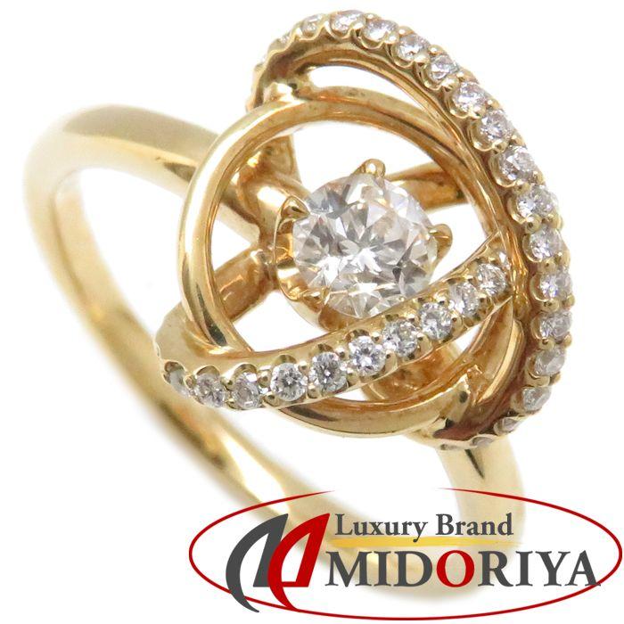 ダイヤモンドリング K18YG ダイヤモンド0.344ct メレダイヤモンド0.19ct 19号 18金イエローゴールド 指輪 レディース ジュエリー /63857 【中古】