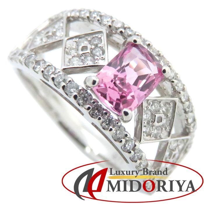 リング Pt900 ピンクサファイヤ0.71ct ダイヤモンド0.37ct 12号 プラチナ 指輪 レディース ジュエリー /63934 【中古】