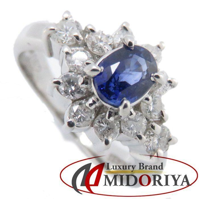 リング Pt900 サファイヤ0.52ct ダイヤモンド0.52ct 9号 プラチナ 指輪 レディース ジュエリー /63978 【中古】