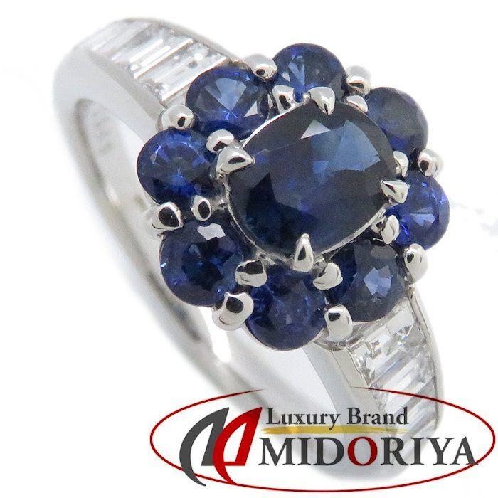リング Pt900 サファイヤ0.53ct/0.75ct ダイヤモンド0.49ct 13.5号 プラチナ 指輪 レディース ジュエリー /63979 【中古】