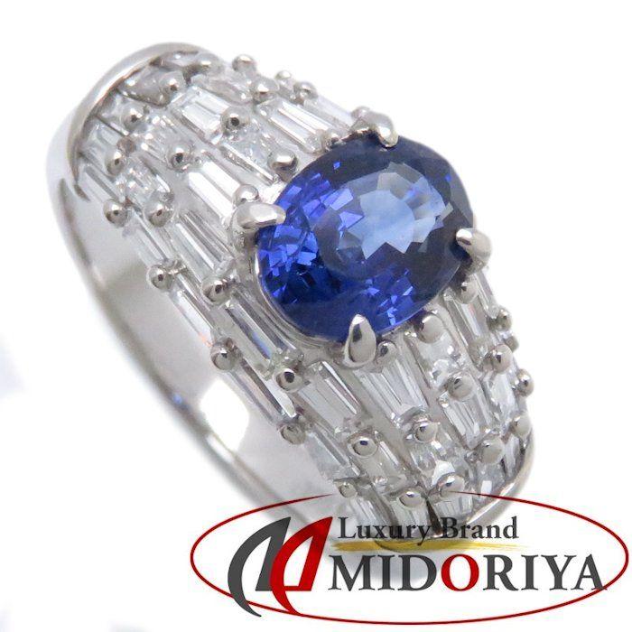 リング Pt900 サファイヤ1.36ct ダイヤモンド1.20ct 13号 プラチナ 指輪 レディース ジュエリー /63980 【中古】
