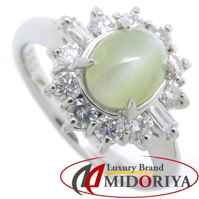 リング Pt900 キャッツアイ1.362ct ダイヤモンド.056ct 12.5号 プラチナ 指輪 レディース ジュエリー /63993 【中古】