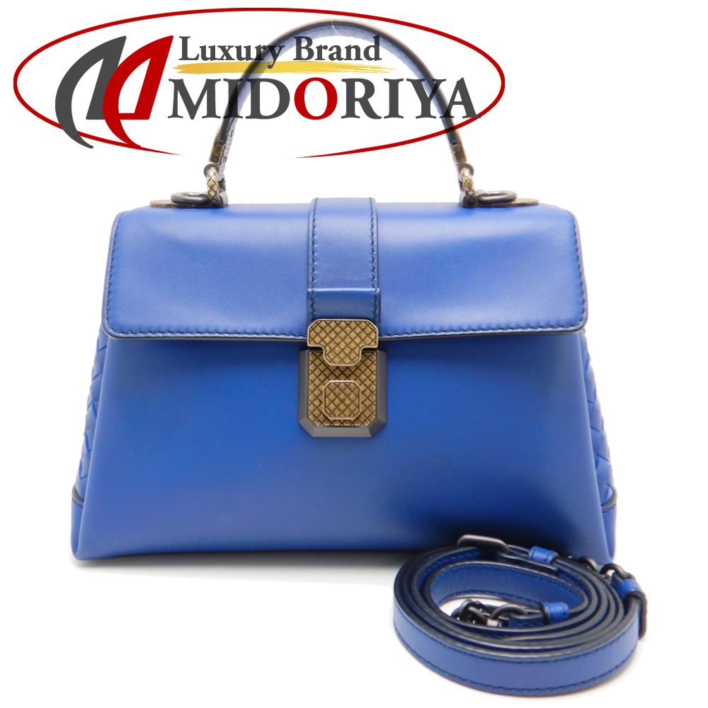 ボッテガヴェネタ BOTTEGA VENETA 498992 スモールピアッツァ 2WAY ハンドバッグ カーフ ブルー 斜め掛け/056890【中古】