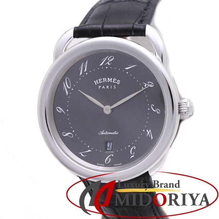 エルメス HERMES アルソー グレー文字盤 自動巻き AR7.710.230/MNO メンズ /37008 【中古】【オーバーホール済み】 腕時計