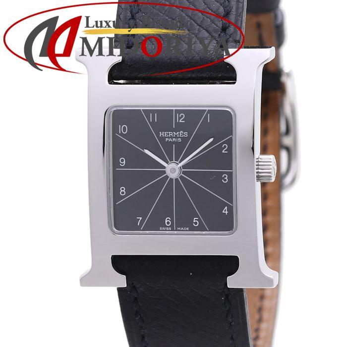 エルメス HERMES Hウォッチ HH1.210.361/UNO レディース 黒革 ブラック /37015 【中古】 腕時計