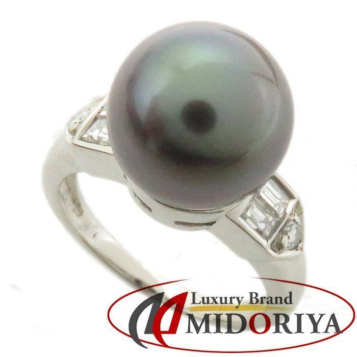 ブラックパール リング Pt900 黒真珠10.0ミリ ダイヤモンド0.24ct 8.5号 プラチナ 指輪 レディース ジュエリー /64054 【中古】