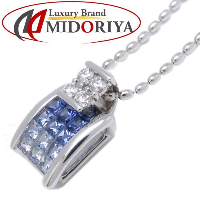 ネックレス 750WG サファイヤ1.51ct ダイヤモンド0.26ct 49cm 18金ホワイトゴールド レディース ジュエリー /72922 【中古】