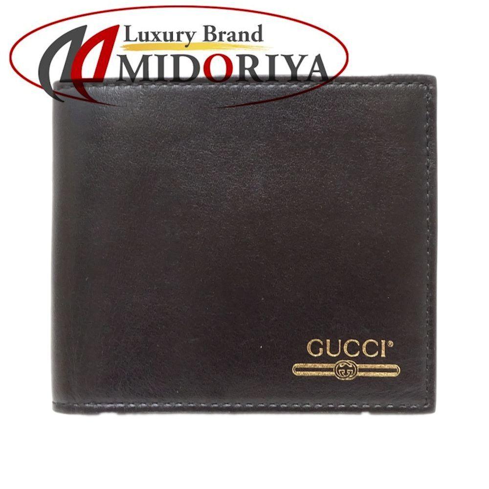 グッチ GUCCI コンパクト財布 二つ折り ヴィンテージロゴ レザー ブラック 547586 /047445 【中古】