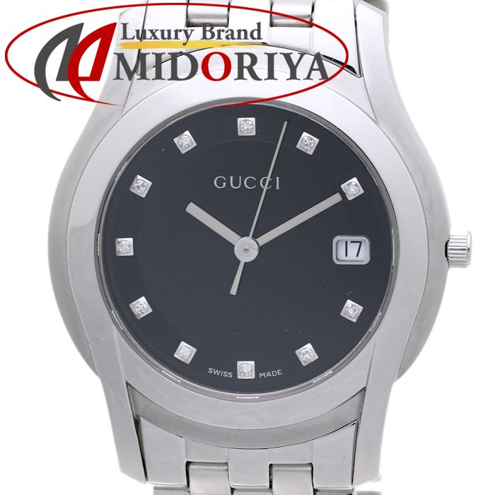 通常便なら送料無料 最短当日発送 クレジットカード可 ショッピングローン可 ファッション通販 GUCCI グッチ Gクラス 11Pダイヤ ブラック文字盤 デイト メンズ YA055303 37521 中古 クォーツ 5500M 腕時計