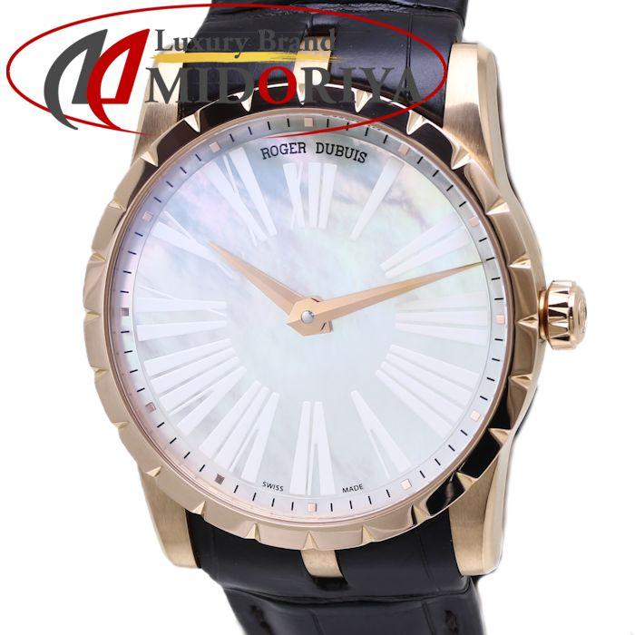 最短当日発送 クレジットカード可 ショッピングローン可 ロジェデュブイ ROGER 保障 DUBIS エクスカリバー 42 仕上げ済 ジュネーブシール付き 750RG DBEX0348 激安通販 37702 中古 プレシャスストーン シェル メンズ 腕時計
