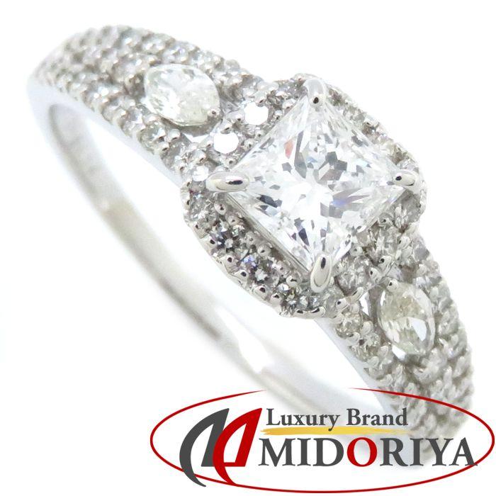 最短当日発送 クレジットカード可 ショッピングローン可 ダイヤモンドリング Pt950 19号 スクエアカットダイヤモンド0.52ct プラチナ 中古 ダイヤモンド0.50ct ジュエリー 指輪 アウトレット レディース 64581 新品未使用正規品