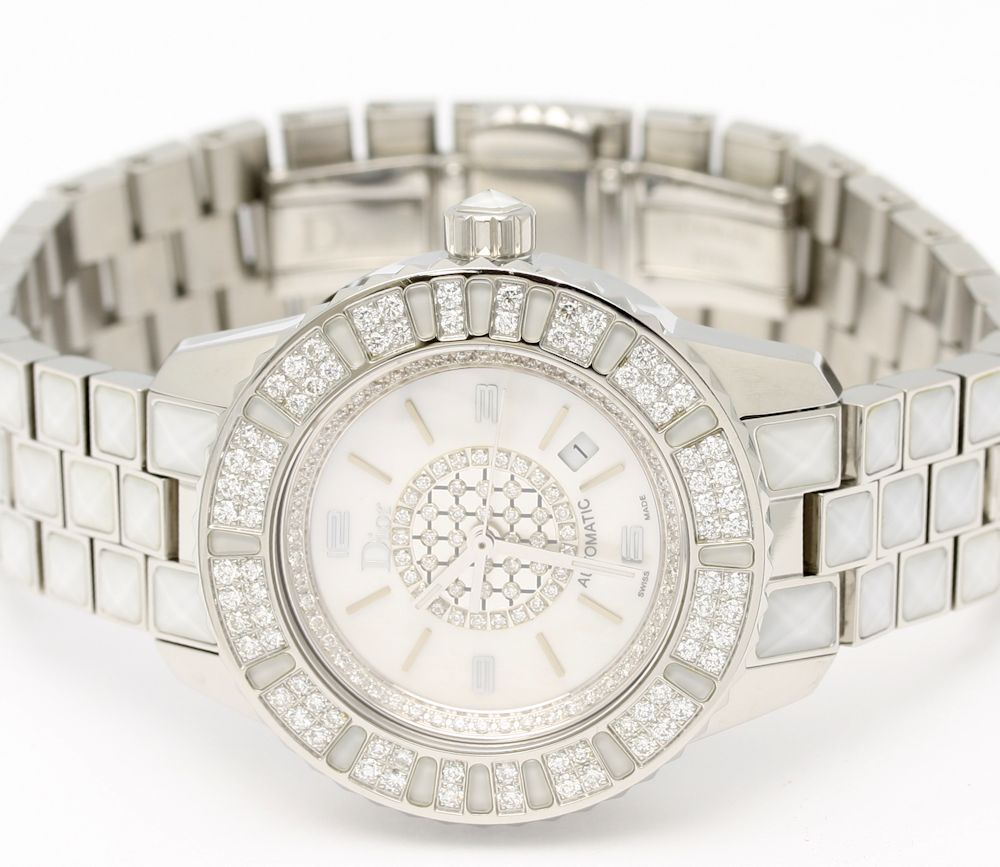 C... Dior CD113512 Crystal DIA bezel diamond character Panel white shell ladies automatic / 32992 fun gift _ packaging watch Christian DIOR