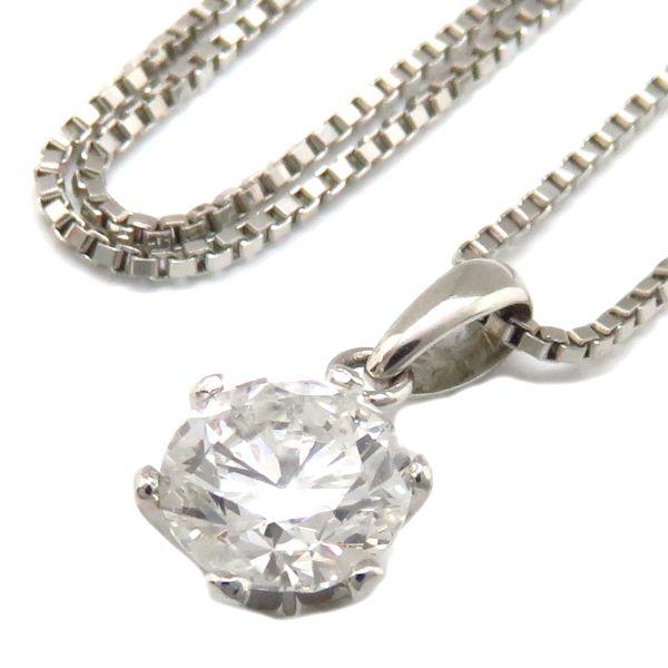 【最大3万円OFF&3倍】ネックレス 一粒ダイヤモンドネックレス ダイヤモンド1.003ct Pt900x850 プラチナ ペンダント/71715【中古】【クリーニング済】