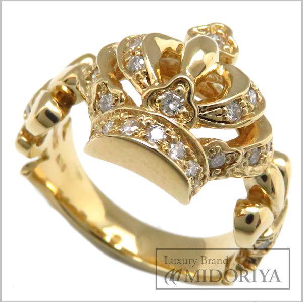 Justine Davis Justin Davis K18YG crown ring diamond 0.31ct CROWN Ring GRJ009 11 18-karat gold yellow gold /94731