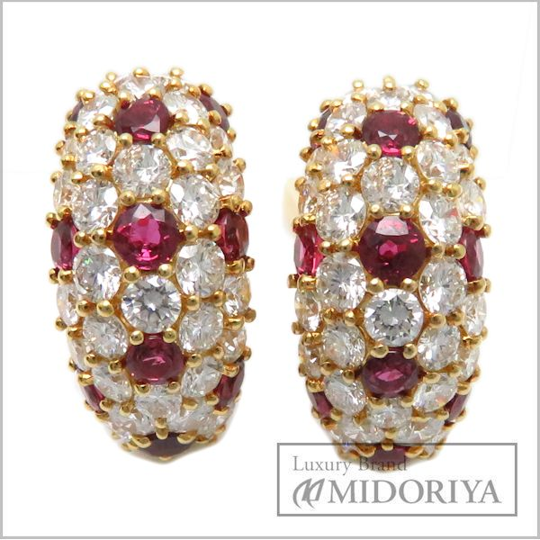 Tiffany Earrings Ruby Diamond 750yg 18 Karat Gold Yellow 95049