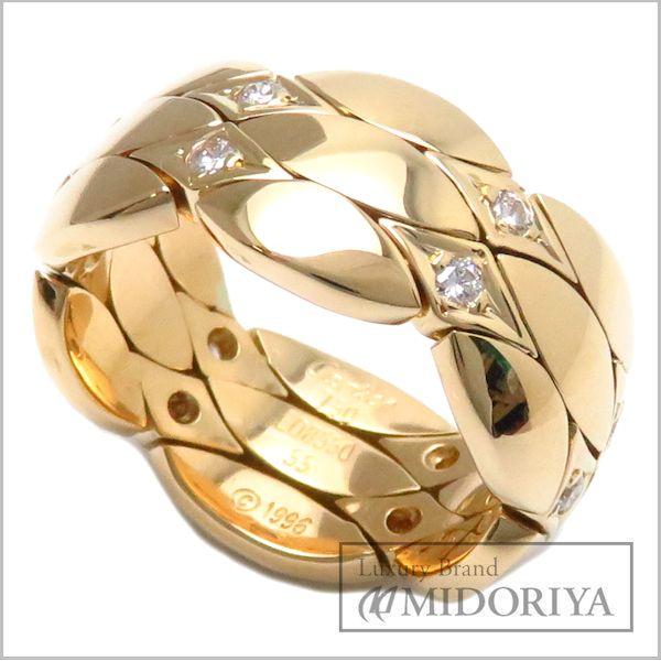 【緊急!大幅値下げ】カルティエ リング CARTIER ダイヤモンドリング 750YG ダイヤモンド12P 刻印55 実寸14.5号 18金イエローゴールド 指輪/95169【中古】【クリーニング済】