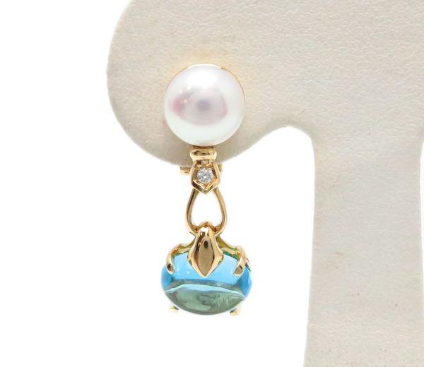 Bvlgari 750 Yellow Gold Blue Topaz Pearl Diamond One Earring 95172