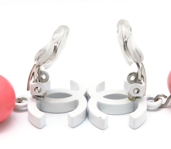 CHANEL Silver Plated Coco Mark Earrings White x Pink /94696