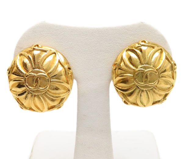 CHANEL Gold Plated Coco Mark Earrings /94697