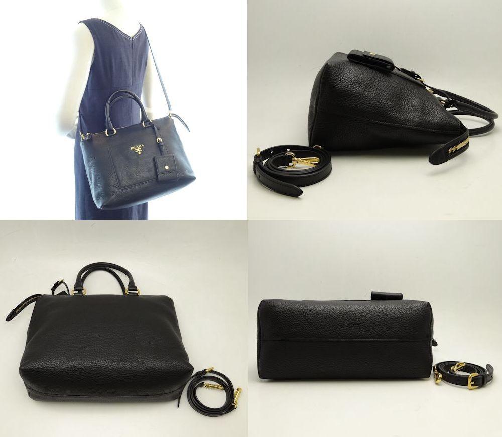 普拉達 (prada) 2 方式袋未使用的皮革 1BA063/56409 NERO 黑黑黑普拉達肩