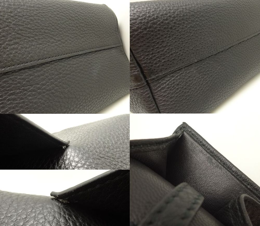Authentic PRADA 2WAY Handbag 1BA063 Leather NERO/56409