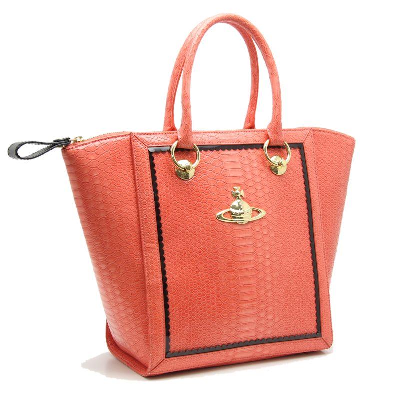 Vivien Waist Wood Vivienne Westwood Patent Leather Handbag Tote Bag Orange 57242 Enamel