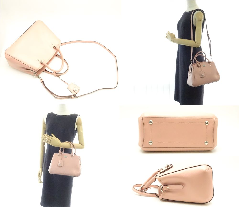 Pawn Shop Midoriya Phase Coach 2way Handbag Cross Grain Leather Margot Mini Carry Oar Baby Pink F34835 Outlet 57841