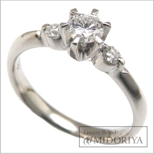 【緊急!大幅値下げ】指輪 ダイヤモンドリング Pt900 ダイヤ0.213ct/0.09ct 10号 プラチナ/63057【クリーニング済】