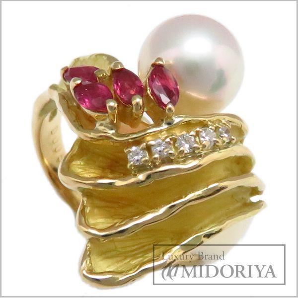 【緊急!大幅値下げ】指輪 パールリング K18YG 真珠7.8ミリ ルビー0.37ct ダイヤモンド0.05ct 11号 18金イエローゴールド/63082【クリーニング済】