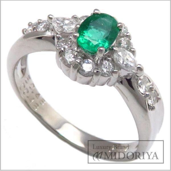 【最大3万円OFF&3倍】指輪 エメラルドリング Pt900 エメラルド0.43ct ダイヤモンド0.48ct 15号 プラチナ/63086【クリーニング済】