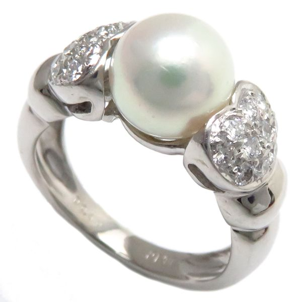 【緊急!大幅値下げ】指輪 ハートリング Pt900 パール8.3ミリ ダイヤモンド0.40ct 11号 プラチナ/63089【クリーニング済】