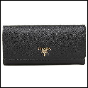 【あす楽対応】プラダ サフィアーノ レザー フラップタイプ 長財布 NERO 1MH132 QWA F0002