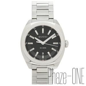 【あす楽対応】グッチ シルバー ブラック 142LG クォーツ 時計 メンズ腕時計 YA142312