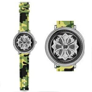 【担当の涙の在庫処分SALE】 アンコキーヌ ミリタリー シリーズ スワロフスキー シルバー グリーン グルグル メンズ レディース 腕時計