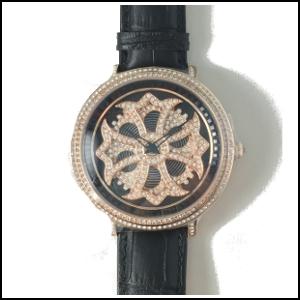 新品 即日発送 アンコキーヌ CROSS SERIES スワロフスキー ベゼル ブラック ゴールドグルグル メンズ レディース 腕時計