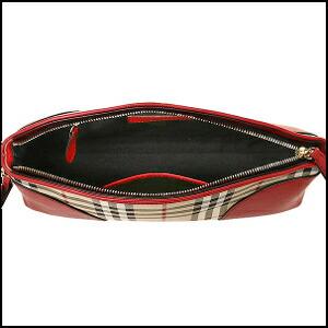 Burberry hose ferry check leather clutch bag shoulder bag HONEY P.RED  3992861 6045B c3f592c5c4