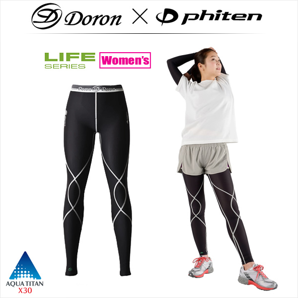 ドロン×ファイテン [LIFE] WOMEN'S ロングタイツ  吸汗速乾、優れたストレッチ性、計算された段階的着圧の高機能スパッツ